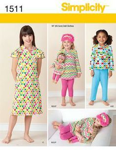 "Simplicity Creative Group - Child and 18"" Doll Matching Loungewear"