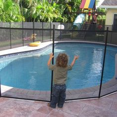 Secure the safety of young children and pets when installing this mesh pool safety fence that is durable enough to keep those little ones from accidentally entering the pool area when you're not aroun