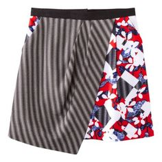 Peter Pilotto® for Target® Skirt -Red Floral/Check Print