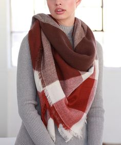 Marsala Color Block Plaid Oversize Scarf