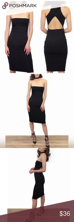 ☆ Bodycon Choker Dress Black bodycon dress. Hugs your body with a nice stretch fit. Choker collar detail. Lower back zipper. Model is wearing a size small. // No trades. Ships daily Mon to Fri. Add to Bundle items to save or just ask me! Xo Dresses Strapless