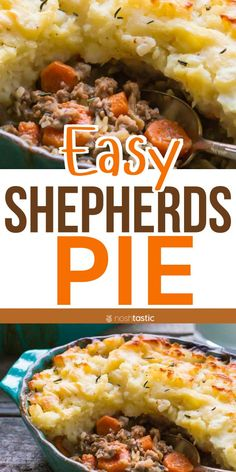 Gluten Free Shepherd's Pie made with ground lamb or ground beef, carrots and mashed potatoes. Gluten Free Recipes For Dinner, Easy Dinner Recipes, Easy Recipes, Healthy Recipes, Whole30 Beef Recipes, Pie Recipes, Shepards Pie Easy, Super Easy Dinner