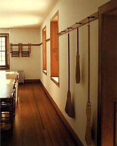 Paint on walls close in color to our BM subtle, with wood trim similar to ours. Brooms on pegs at Hancock Village. Shaker Furniture, Art Furniture, Furniture Design, Style Deco, Wood Trim, Shaker Style, Historic Homes, Clean House, Simple House
