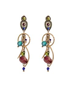 Look at this Blue & Red Stone Swoop Drop Earrings on #zulily today!