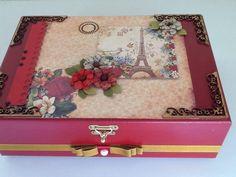 Caixa para bijuterias,decoração papel Scrap,com flocagem interna!!,