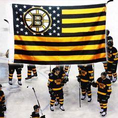 Great combo Boston Bruins and American flag Bobby Orr, Boston Bruins Hockey, State Champs, Boston Sports, Nhl, Cheerleading, American Flag, Banner, Stripes