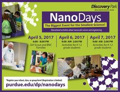 NanoDays start tonight! Rain or shine, it's inside. There is still room to register for tonight, if you're a Girl Scout. (photo via link)