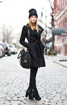 Similar Coat: Burberry or DKNY  Similar Hat: Alexander Wang or Eugenia Kim  Similar Bag: 3.1 Phillip Lim or Marc by Marc Jacobs  Similar Boots: Acne or Calvin Klein