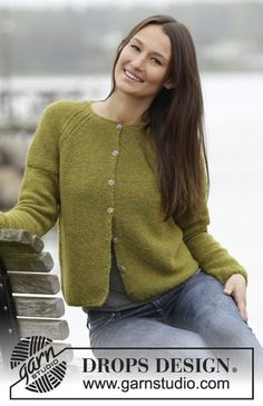 Garnstudio, Drops Design Free pattern Drops 164-42 knitted jacket in garter in Alpaca
