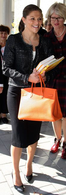 Crown Princess Victoria of Sweden (love this bag)