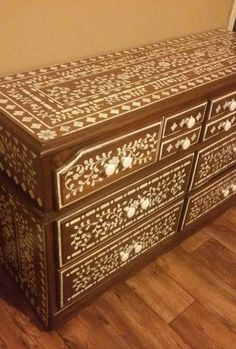 A DIY stenciled dresser using the Indian Inlay Stencil Kit, designed by Kim Myles, from Cutting Edge Stencils. http://www.cuttingedgestencils.com/indian-inlay-stencil-furniture.html
