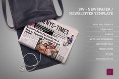 BW Newspaper/Newsletter Template by 1studio on @creativemarket