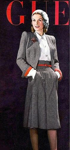 1943 Bijou Barrington in black check suit with red cuffs and belt, cover by John Rawlings, Vogue