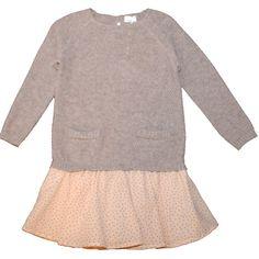 Brown shirt dress with soft pink skirt