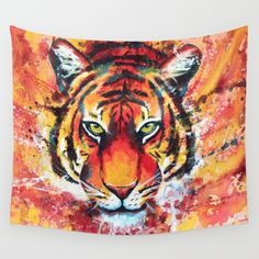 Available in three distinct sizes, our Wall Tapestries are made of 100% lightweight polyester with hand-sewn finished edges. Featuring vivid colors and crisp lines, these highly unique and versatile tapestries are durable enough for both indoor and outdoor use. Machine washable for outdoor enthusiasts, with cold water on gentle cycle using mild detergent - tumble dry with low heat. #tiger #painting #animal #art #walltapestry #gift #idea #original