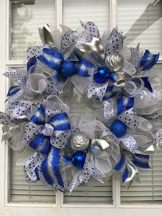 Blue Christmas Wreath Front door Christmas by DecoWreathBoutique