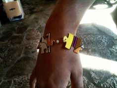 """my 14 yr olds creation her """"puzzle"""" bracelet"""