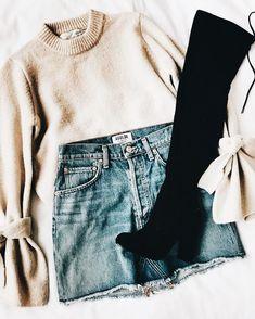 Denim skirt + blush pink knit sweater + thigh high boots