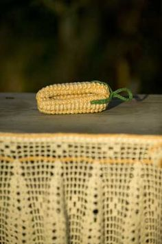You'll use both your knitting and crocheting skills for this project. The corn cob is knitted; the leaves are crocheted.