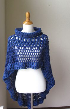 COBALT BLUE PONCHO Crochet  Teen Girls Boho Circle by marianavail, $75.00