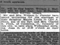 William L Poynter daughter Maude Lucile to wed Carl A Ploch Indy News Sat 25 May 1912