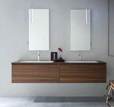 Bagno doppio lavabo in geacryll piano top effetto ruggine hpl cestoni ammortizzati