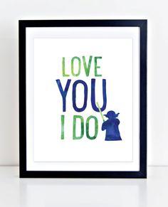 Custom Yoda Print Printable Wall Art Love You I Do by DuneStudio