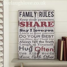 Family Rules Rustic Sign £14.95