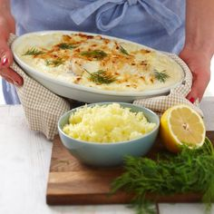 Fiskgratäng med pressad potatis Risotto, Mashed Potatoes, Macaroni And Cheese, Seafood, Gluten, Fish, Dinner, Ethnic Recipes, Whipped Potatoes