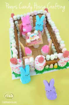 Peeps Tea Party Candy House Craft Idea for Kids