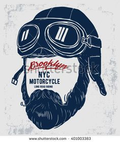 Motorcycle rider with retro racer helmet. T-shirt graphics. Vintage style. Vectors.