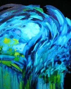 """Ariane Ouellet   """"La nuit je rôde"""", acrylique sur toile."""