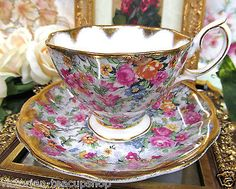 ROYAL ALBERT TEA CUP AND SAUCER CHINTZ PATTERN TEACUP HEAVY GOLD GILT