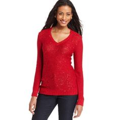 Charter Club NEW   Red Sequined Long Sleeves V-Neck Pullover Sweater Top XL BHFO #CharterClub #VNeck eBay Starting bid, .99.