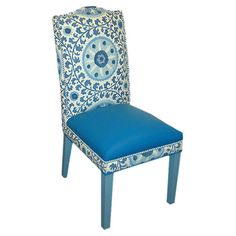 Nailhead-trimmed side chair with a medallion motif in blue.     Product: Chair  Construction Material: Wood, cott...