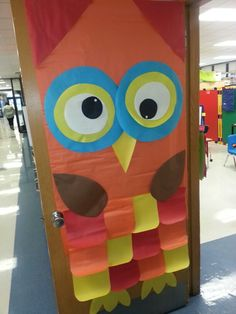 Fall is a Hoot! Owl on the door. Elementary school door decoration.