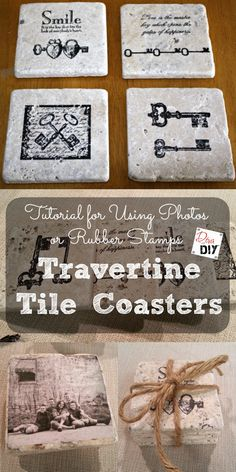 Coaster are something everyone uses so these DIY coasters make a great gift! Use stamps or photos to make coasters out of travertine tiles.