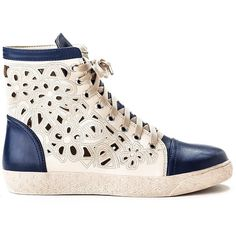 French Blu Cutout High Top Sneaker ($45) ❤ liked on Polyvore featuring shoes, sneakers, navy, navy shoes, lace up shoes, floral sneakers, navy blue shoes and hi tops