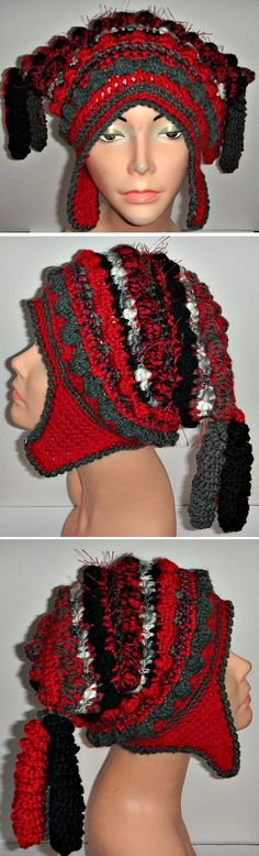One of a Kind Freeform Freestyle Crochet Helmet Hat with Earflaps - *Inspiration*
