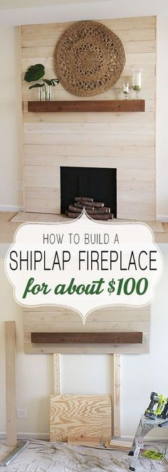 How to shiplap a fireplace on a budget. This beautiful modern farmhouse style f. - How to shiplap a fireplace on a budget. This beautiful modern farmhouse style fireplace is an easy - Shiplap Fireplace, Faux Shiplap, Fireplace Remodel, Fireplace Mantle, Fireplace Surrounds, Diy Faux Fireplace, Farmhouse Fireplace, Fireplace Diy Makeover, Faux Mantle