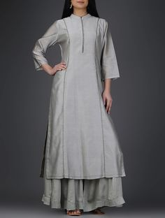 Buy Grey Hand Embroidered Mandarin Collar Chanderi Kurta with Zari Mercerised… Salwar Suit Neck Designs, Neck Designs For Suits, Kurta Designs Women, Blouse Designs, Stylish Dress Designs, Stylish Dresses, Indian Dresses, Indian Outfits, Diwali