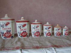 """Série de pots à épices complète... """"Rose Noé""""  Fan de Digoin"""