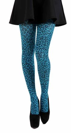 Small Leopard Printed Tights (Flo Turquoise) d86461cf7e80