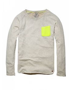 Not sure if the neon cheapens the look.  Crew neck sweater with chest pocket - Sweaters - Official Scotch & Soda Online Fashion & Apparel Shops