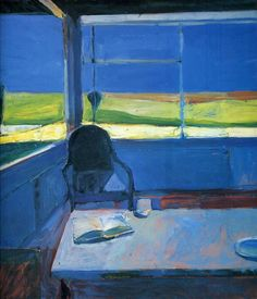 Richard Diebenkorn, American Interior with a Book, Oil on canvas, 5 feet 10 inches x 5 feet 4 inches. Gift of the Friends of Art, © Richard Diebenkorn Foundation. Richard Diebenkorn, Art And Illustration, Figure Painting, Painting & Drawing, Painting Abstract, Bay Area Figurative Movement, Blog Art, Figurative Kunst, Franz Kline
