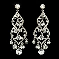 Silver Clear Rhinestone Chandelier Earrings