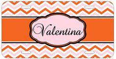 Personalized Monogrammed Chevron Pink Orange License Plate Custom Car Tag L316