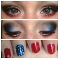 4th of July makeup and nails. Holidays give great beauty ideas.