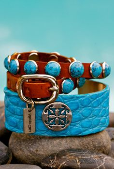 Merry Christmas to ME! :) Turquoise Cuff with Brown/Turquoise Leather Wrap  by Rustic Cuff