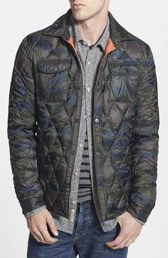 Free shipping and returns on Scotch & Soda Quilted Camo Shirt Jacket at Nordstrom.com. A camo print and diamond quilting intermingle on a versatile, snap-front shirt jacket popping off with bright orange trim inside the placket.